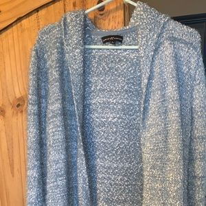 Marled white/light blue hooded sweater cardigan